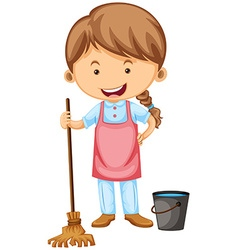 Cleaner with apron and broom vector image