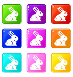 Easter bunny icons 9 set vector