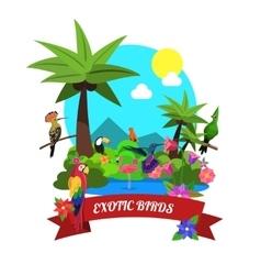 Exotic birds concept vector