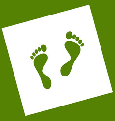Foot prints sign white icon obtained as a vector