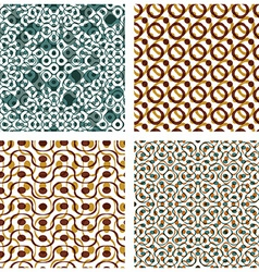 Four dotted seamless patterns with rings set of vector