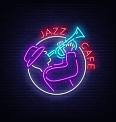 Jazz cafe logo in neon style neon sign symbol vector