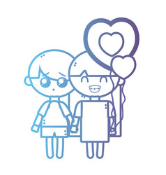 line children together with heart balloons vector image