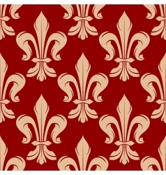 Maroon and beige floral seamless pattern vector