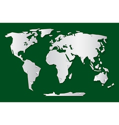 Paper World Map on Green Background vector image vector image
