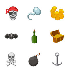 Pirate symbolism icons set cartoon style vector