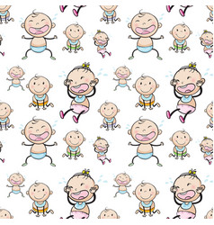 seamless background with babies vector image vector image