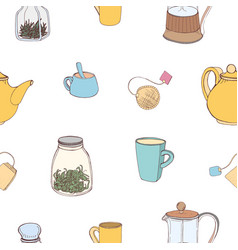 seamless pattern with colorful hand drawn kitchen vector image vector image