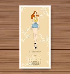 September hand drawn fashion models calendar 2016 vector