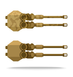 Set dual sand color flat airship weapon vector