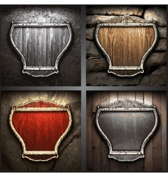 set of shields on the wall vector image