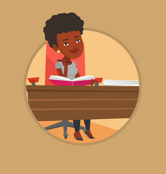 student writing at the desk vector image vector image