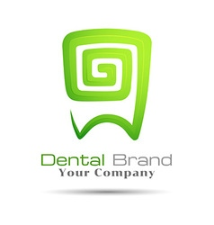 Stylized tooth icon logo template green for dental vector