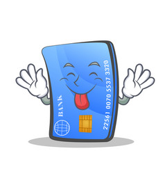 tongue out credit card character cartoon vector image