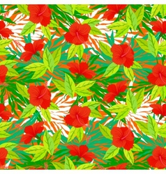 Tropical vintage pattern with red hibiscus flowers vector