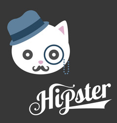 Typography hipster and cat cartoon vector