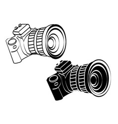 White and black vintage camera icon art vector