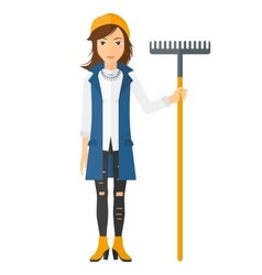 Woman standing with rake vector