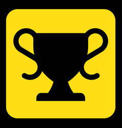 yellow black information sign - sports cup icon vector image