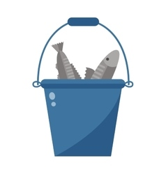 Bucket with fish vector