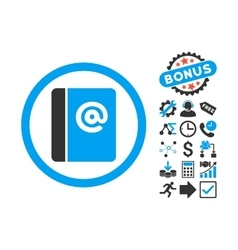 Emails flat icon with bonus vector