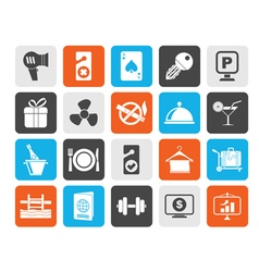 Silhouette hotel and motel services icons 2 vector