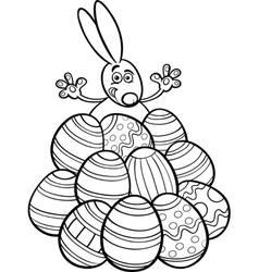 Easter bunny and eggs coloring page vector