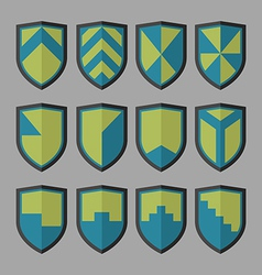 Set of shields blue and green vector