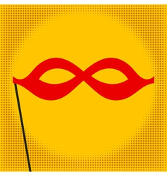Red mask on yellow background Pop art vector image