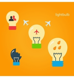 Set of creative light bulbs vector