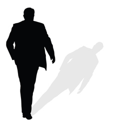 Man walking silhouette art with shadow vector