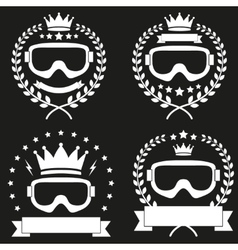 Set of vintage ice snowboarding or ski club badge vector