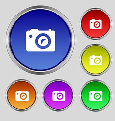 Digital photo camera icon sign round symbol on vector