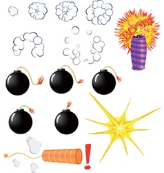 Set of explosive pyrotechnic cartoon vector