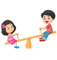 Cartoon kids see saw vector