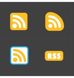 Rss feed symbols on black background vector