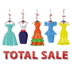 Colored summer dresses settotal sale vector