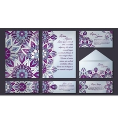 Invitation card collection delicate floral vector