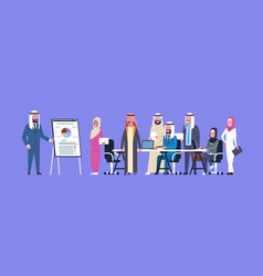 arab business people group meeting presentation vector image vector image