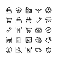 Banking and finance outline icons 4 vector