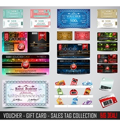 Big Collection of Voucher Gift Card layout vector image