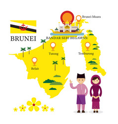 Brunei map and landmarks with people in vector