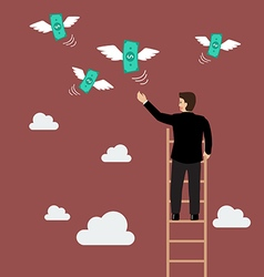 Businessman on the ladder catching a money fly vector image