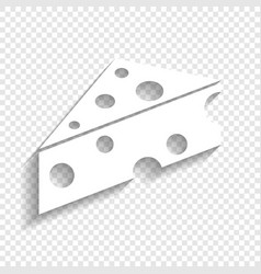 Cheese maasdam sign white icon with soft vector