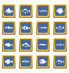 cute fish icons set blue vector image