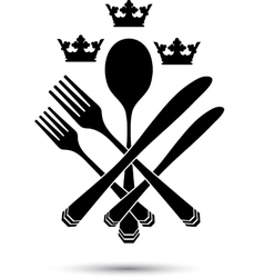 Cutlery with crowns vector