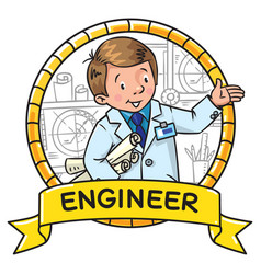 Engineer coloring book abc of profession emblem vector