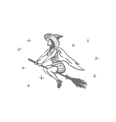 Hand drawn Halloween magic woman flying on broom vector image