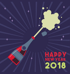 happy new year 2018 party drink bottle splash vector image vector image