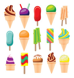Ice cream set isolated on white background vector